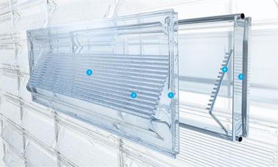 solar enclosure water reuse structure Facciata solare: recupera acqua, luce e calore